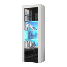 Milano Bookcase Matte Body and High Gloss Fronts, White/Black