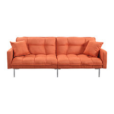 Divano Roma Furniture Modern Plush Tufted Linen Fabric Splitback Sleeper Futon Orange Futons
