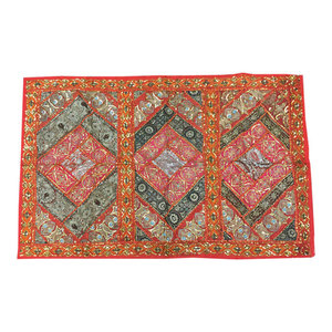 Mogulinterior - Indian wall Hanging Tapestry Embroidery Sequins Sari Patchwork Wall Decor - Tapestries