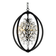 Black Metal Chandelier With Clear Beaded Crystals