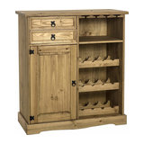 Traditional Sideboard, Solid Pine Wood With Door, 2-Drawer and Wine Rack