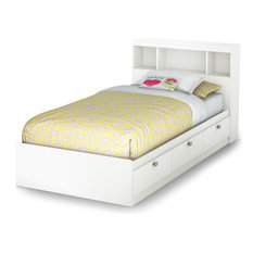 kids storage bed. South Shore Furniture - Spark Twin Storage Bed And Bookcase  Headboard, Pure White Kids Storage Bed
