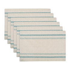 DII Teal French Stripe Placemat, Set of 6