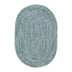 "Sea Pottery Braided Oval Rug, Blue, 2'3""x9' Runner"