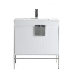 "Kuro Contemporary White Bathroom Vanity, 32"""