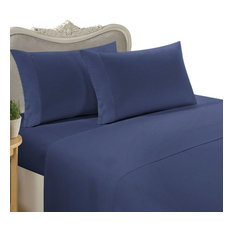 1500 Thread Count Egyptian Cotton Solid Duvet Cover Set, King, Navy