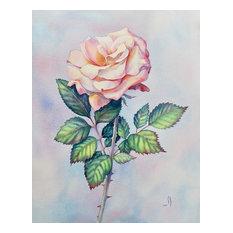 Pink Rose Painting, Original Watercolor Floral Art by Olena Baca