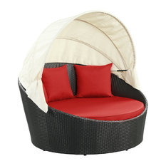 Siesta Canopy Outdoor Daybed, Espresso Red