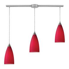 Vesta 3-Light Linear Pendant, Cardinal Red, Satin Nickel