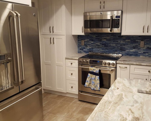 Fantasy Brown Granite With White Shaker Door Cabinets From