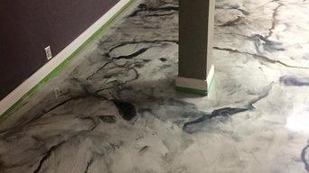 "NE Minneapolis Basement Charcoal Pearl ""Marble"" Reflector Floor"