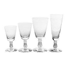 Baluster Stem Haly Wine Glasses, Floral, Set of 48