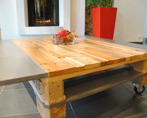 TABLE BASSE BOIS BETON - Coffee Tables