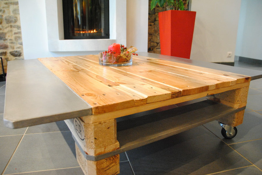 TABLE BASSE BOIS BETON
