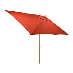 6.5x10' Rectangular Outdoor Patio Umbrella with Natural Pole, Red