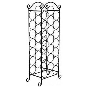 Traditional Freestanding Wine Rack, Black Stainless Steel, 21-Bottle Capacity