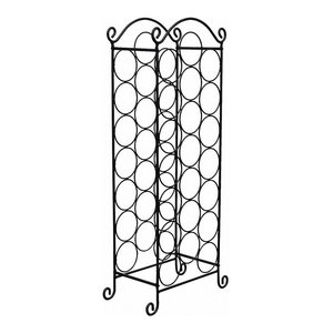 Traditional Freestanding Wine Rack, Black Stainless Steel, 21-Bottle Capacity