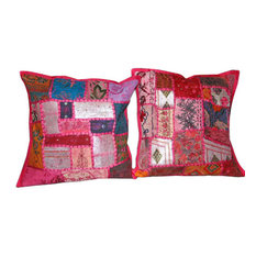 Mogul Interior - Cushion Covers  Patchwork Embroidered Throw Pillow Covers, Set of 2 - Decorative Pillows
