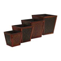 Bamboo Square Decorative Planters - Set of 4