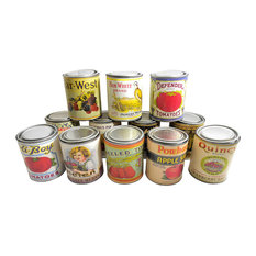 Vintage-Style Retro Food Tin Canisters, Set of 12