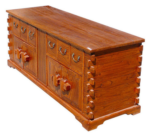 Chinese Rustic Look TV Entertainment Stand Cabinet