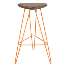 Madison Bar Stool, Orange, Walnut