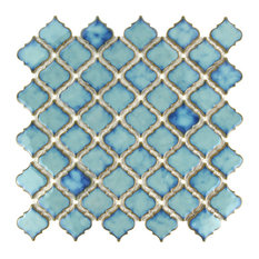 "Bay - 12.38""x12.5"" Mykonos Porcelain Mosaic Floor/Wall Tile, Ocean - Wall and Floor Tile"