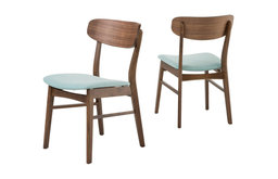 GDF Studio Augusta Mint Fabric and Walnut Finish Dining Chairs, Set of 2