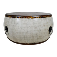 White Large Drum Coffee Table