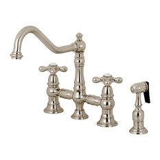 "Kingston Brass KS3278AXBS Restoration 8"" Bridge Kitchen Faucet With Sprayer"