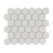 "11.06""x12.8"" Porcelain Mosaic Tile Barcelona Matte White, Set of 10"