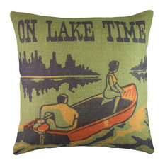 "Lake Life Burlap Pillow, ""On Lake Time"""