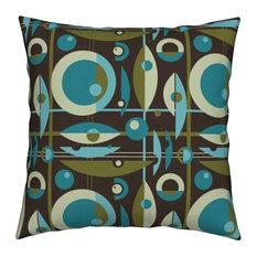 Mid-Century Mid Century Retro Vintage Moderne Throw Pillow Velvet