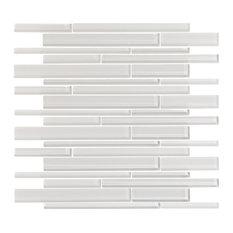 """12""""x12"""" Ice White Glass Mosaic, Single Sheet"""