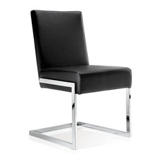 Modern Dining Chair, Black Leather