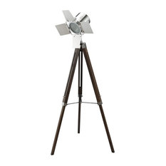 Novelty Hollywood Floor Lamp With Antique Oak And Chrome Finish 40209
