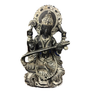 "Mogulinterior - Goddess Saraswati Hindu Religious Stone Statue Hand Carved Art Sculpture 8"" - Decorative Objects And Figurines"