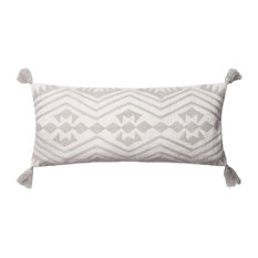 Loloi Cotton Accent Pillow, Gray and Ivory, 12  x27