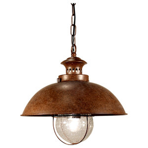 Dover S1 Steel and Seeded Glass Pendant Light, Brown