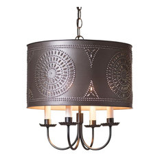 Drum Chandelier, Handcrafted Kettle Black, Punched Tin
