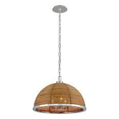 Carayes Chandelier - Natural Rattan Stainless Steel, Natural, Small, 3