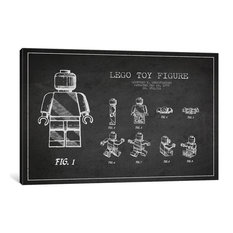 """Lego Dark Patent Blueprint"" by Aged Pixel, 26""x18""x1.5"", 1-Piece"