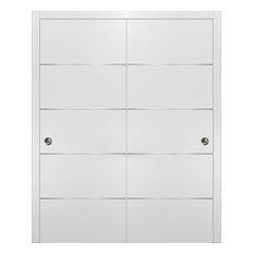 Planum 0020 Modern Closet Bypass Doors 60x80 White & Pulls Hardware