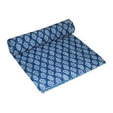 Indian Indigo Blue Queen Handmade Kantha Quilt
