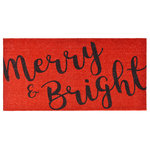 """Calloway Mills - Merry & Bright Doormat, 30"""" X 48"""" - Made of natural coir, a dense fiber that is naturally mold and mildew resistant.  Coir is a renewable resource that is durable and coarse, excellent for scraping shoes clean.  Vinyl backed for increased durability and to help prevent movement, coir doormats are weather tolerant absorb moisture and retain their shape.  For best results keep in a sheltered area such as a covered porch, keeping extreme moisture and sunlight to a minimum.  Vacuum, sweep or lightly hose clean."""