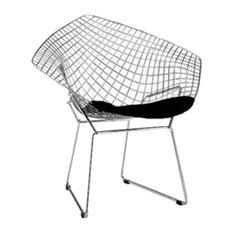 Fine Mod Imports  Wire Diamond Chair, Black