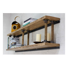 Letty Reclaimed Scaffolding Shelves with Reclaimed Vintage Ladder Rung Risers