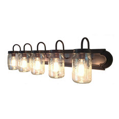 Mason Jar Vanity 5-Light Widemouth Quart Wall Sconce Fixture