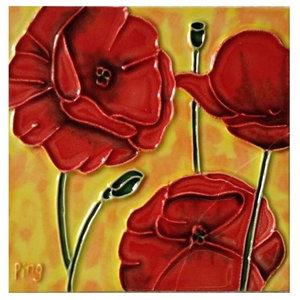 Red Poppy Flowers Art Tile