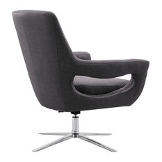 Quinn Contemporary Adjustable Swivel Accent Chair, Chrome With Gray Fabric
